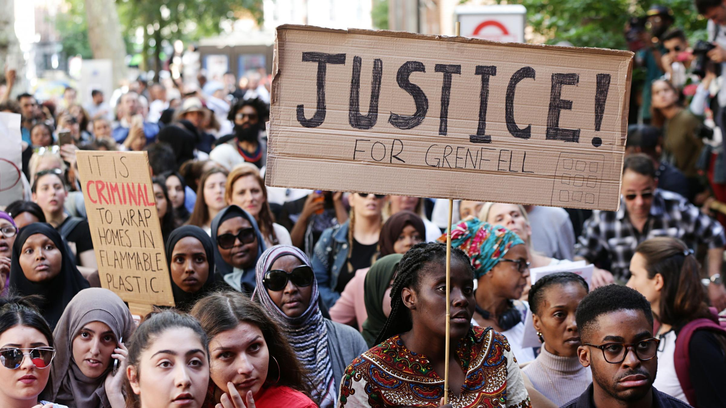 Hundreds of Grenfell Tower protesters march on Whitehall