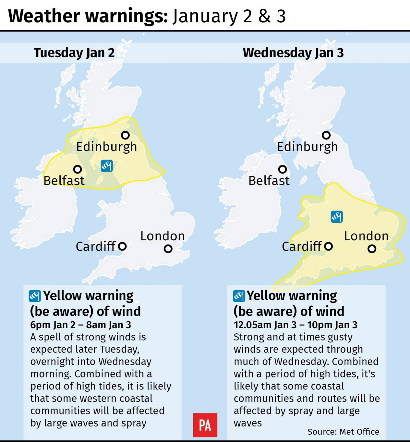 Storm Eleanor expected to hit Britain with 80mph winds